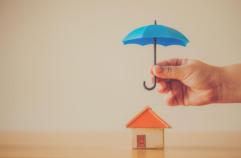家に傘をさす手